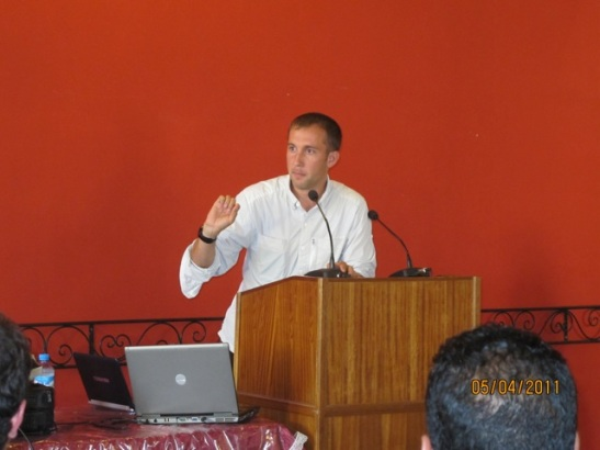 Eric giving a speech in Morocco