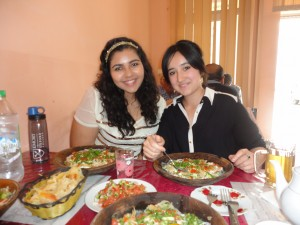Tajik food - qurutob. Noureen in the picture