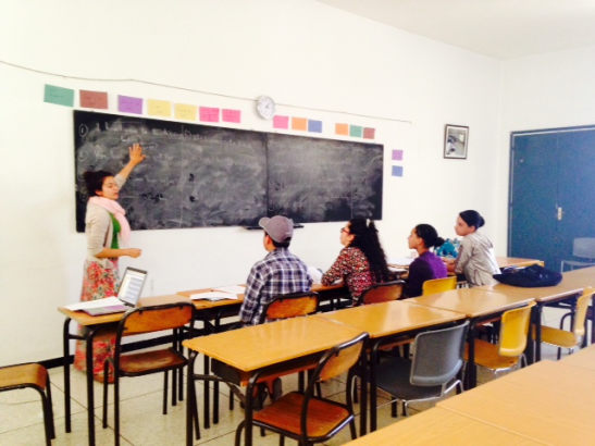 Here I am at the board teaching our advanced English class.