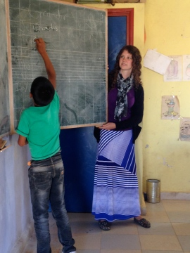 Phoebe teaching at the Tarmilaat Village School.