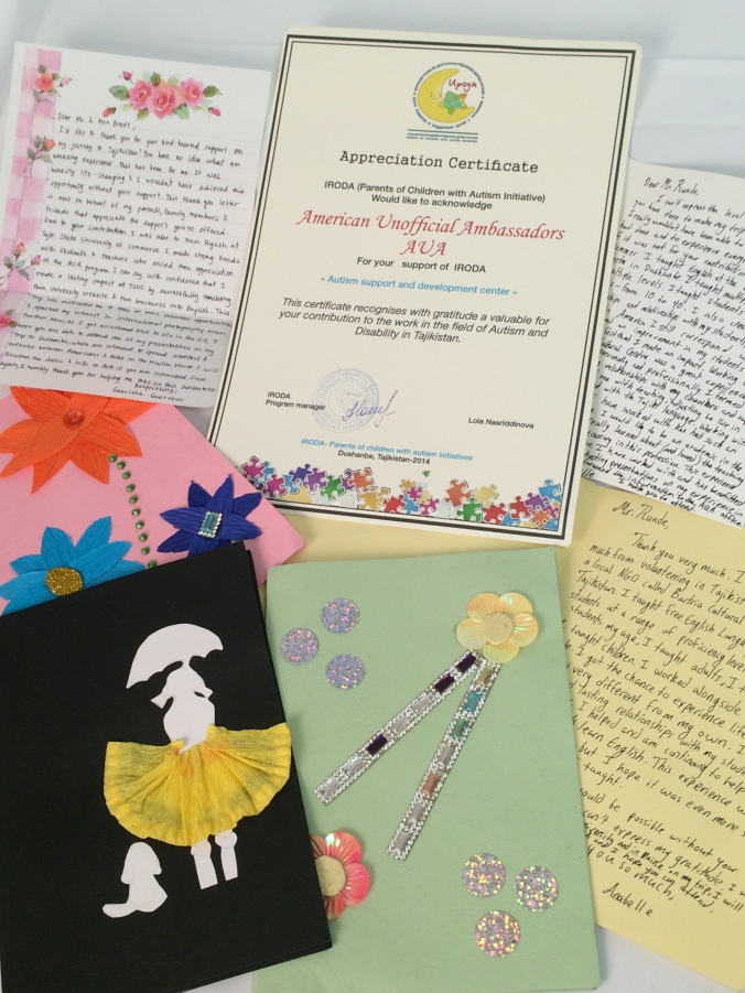 Thank you letters and official certificate from IRODA to AUA.
