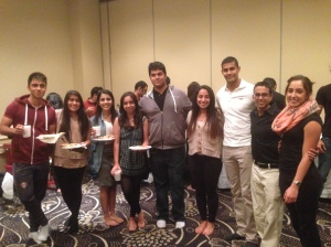 Suraiya Jinah with students who attended her presentation in the social hall of McGill's student-run mosque
