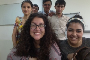 Gabriela Guerrero with students in Tajikistan.