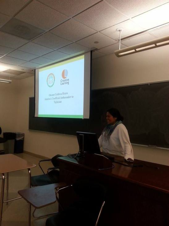 Okxana presenting to the Eurasia and Middle East Society Club.
